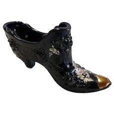Black Fenton Art Glass Handpainted Shoe with Roses