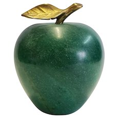 Green Marble Apple Paperweight with Brass Stem