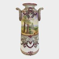 """Large 12"""" Nippon Scenic Woodland Moriage Double Handled Vase"""