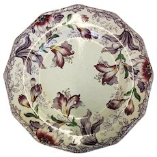 "J Furnival Lily Pattern Multi Color Stoneware 10"" Plate"