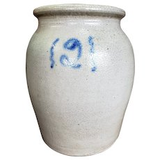 Salt Glaze Stoneware 2 Gallon Cobalt Decorated Ovoid Crock