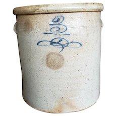 Antique Salt Glaze Cobalt Bee Sting 3 Gallon Stoneware Crock