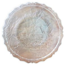 1980's Fenton Art Glass Clear Frosted Sawmill Plate
