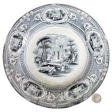 "19th C. Black Transferware Wedgwood Corinthia 9 1/2"" Rimmed Soup Bowl #3"