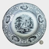 "19th C. Black Transferware Wedgwood Corinthia 9 1/2"" Rimmed Soup Bowl #4"