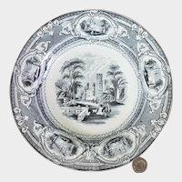 "19th C. Black Transferware Wedgwood Corinthia 9 1/2"" Rimmed Soup Bowl #2"