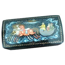 Russian Lacquer Box Handpainted Winter Scene Snow Horses Tpolika