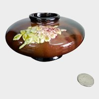 Peters and Reed Short Rose Bowl or Vase Standard Brown Glaze w/ Flowers
