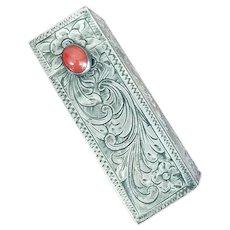Vintage Italy 800 Silver Lipstick Holder w/ Mirror Carnelian Stone