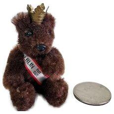 """Tiny Vintage Schuco Berlin Tut Gut Mohair Jointed Teddy Bear 2.5"""" Tall"""