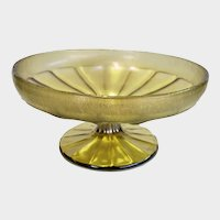Yellow Iridescent Glass Onion Skin Pedestal Bowl