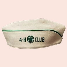 4-H Club Wool Hat White with Green Trim