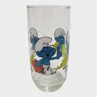 Vintage 1982 Brainy Smurf Peyo Collector Glass