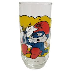 Vintage 1982 Papa Smurf Peyo Collector Glass