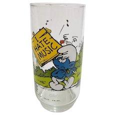 Vintage 1982 Grouchy Smurf Peyo Collector Glass