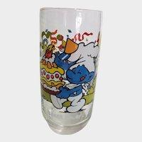 Vintage 1983 Baker Smurf Peyo Collector Glass