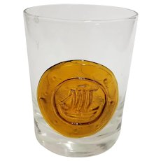 MCM Mid Century Tumbler With Applied Amber Glass Medallion - Ship