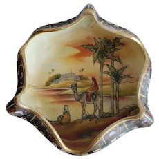Egyptian Scene Hand Painted Nippon Bowl With Person Riding A Camel