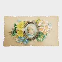 Victorian Calling Card Flip Up Lady's Portrait