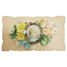 Victorian Calling Card Flip Up Lady's Portrait