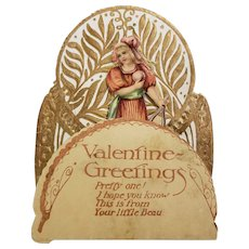 Victorian Mechanical Valentine Greetings Card Girl With Tennis Racket Printed in Germany
