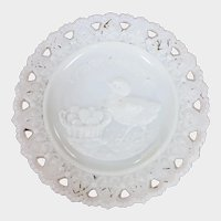Victorian Milk GLass Easter Greeting Plate Chick & Easter Basket