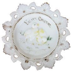 Victorian Milk Glass Easter Greeting Plate Chicks & Grass