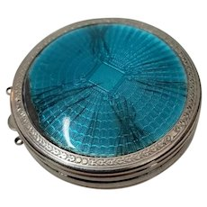 Vintage Deauville Richard Hudnut Blue Enamel Compact