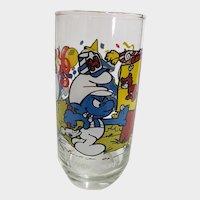 Vintage 1983 Handy Smurf Peyo Collector Glass