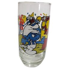 Vintage 1983 Handy Smurf Peyo Collector Glass