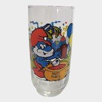 Vintage 1983 Papa Smurf Peyo Collector Glass