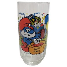 Vintage 1983 Papa Smurf Peyo Collector Glass