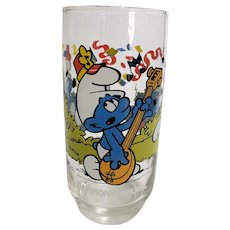 Vintage 1983 Harmony Smurf Peyo Collector Glass