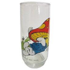 Vintage 1982 Lazy Smurf Peyo Collector Glass