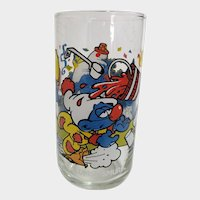 Vintage 1983 Clumsy Smurf Peyo Collector Glass