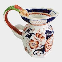 "Gaudy Ironstone Pottery 6"" Pitcher with Figural Dragon Handle"