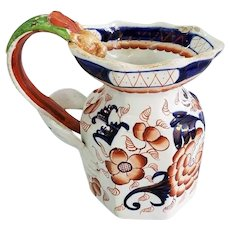 """Gaudy Ironstone Pottery 6"""" Pitcher with Figural Dragon Handle"""