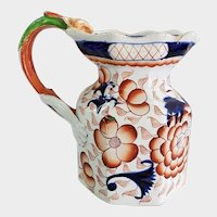 "Gaudy Ironstone Pottery 7"" Pitcher with Figural Dragon Handle"