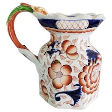 """Gaudy Ironstone Pottery 7"""" Pitcher with Figural Dragon Handle"""