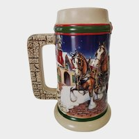 1998 Budweiser Holiday Beer Stein Grant's Farm Holiday