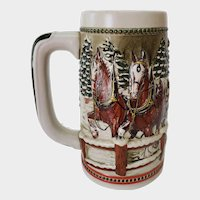Vintage Budweiser Beer Stein - Clydesdale Hitch Passing Through Covered Bridge