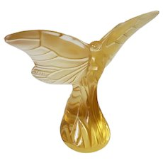 Lalique France Yellow Gold Amber Glass Butterfly Figurine