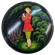 1982 Russian Lacquer Box Flute Player Black with Red