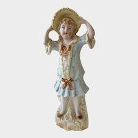 Bisque Porcelain Figurine Girl Holding Her Hat