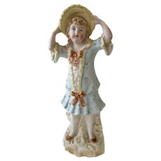 Bisque Porcelain Figurine Girl Holding Her Hat
