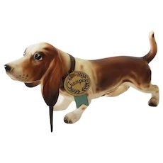 Lefton Basset Hound Dog Figurine With Original Collar & Tag - Champion
