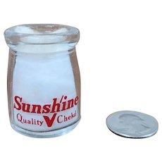 Vintage Individual Cream Bottle Sunshine Quality Chekd Milk Bottle