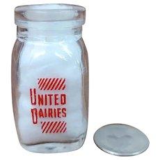 Vintage Individual Cream Bottle United Dairies Dairy Milk Creamer