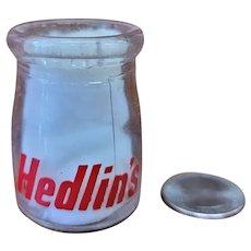 Vintage Individual Cream Bottle Hedlin's Richer Cream Dairy Creamer Milk