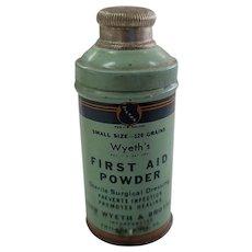 Vintage Medicine Tin Wyeth's First Aid Powder Advertising
